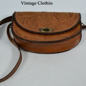 Vintage C1950s Floral Tooled Leather Purse